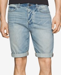 Calvin Klein Jeans Men's Cuffed Hem Faded Tinted Wave Denim Shorts