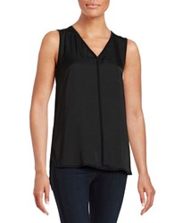 Lord And Taylor Woven Front V Neck Shell Black