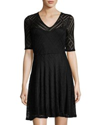 Three Dots Mariko Half Sleeve Lace Dress Black