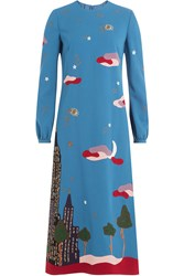 Valentino Skyline Printed And Embroidered Virgin Wool Dress Multicolor