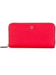 Mcm All Around Zip Wallet Red