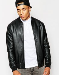 New Look Faux Leather Bomber Jacket Black