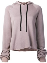 Unravel Raw Hem Hoodie Pink And Purple