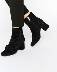 Warehouse Suede Bow Detail Heeled Ankle Boot Black
