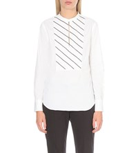 Brunello Cucinelli Beaded Cotton Blend Shirt White