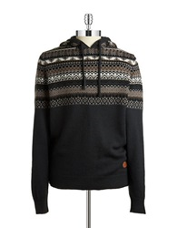 Buffalo David Bitton Fairisle Hooded Sweater Blue