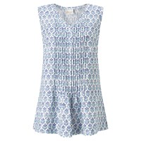 East Lilith Pintuck Sleeveless Top Blue White