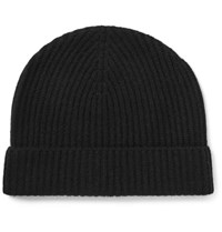Lock And Co Hatters Ribbed Cashmere Beanie Black