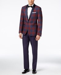 Ryan Seacrest Distinction Men's Red And Blue Tartan Slim Fit Tuxedo Suit Only At Macy's Red Blue