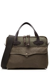Filson Padded Tablet Briefcase With Leather Green