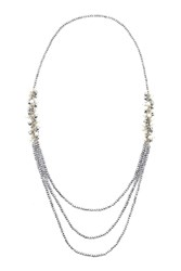 James Lakeland Long Pearl Beaded Cluster Necklace