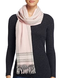 Bloomingdale's C By Border Plaid Cashmere Scarf Ballet Gray Ivory