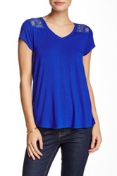 Cable And Gauge Lace Combo Short Sleeve Tee Blue