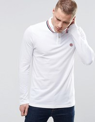 Pretty Green Polo Shirt With Tipping In Long Sleeves White White