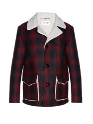 Saint Laurent Shearling Lined Checked Jacket Red Multi