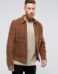 Barney's Piped Suede Western Jacket Tan