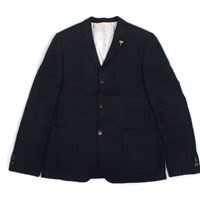 Tuktuk 3 Button Jacket Linen Navy