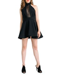 Kendall Kylie Mesh Inset Fit And Flare Halter Dress Black