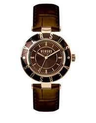 Versus By Versace Brown Logo Leather Strap Watch Sp8170015