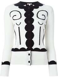 Olympia Le Tan Embroidered Cardigan Nude And Neutrals