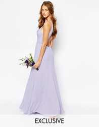 Fame And Partners Nevada Maxi Dress With Fishtail And Keyhole Back Purple
