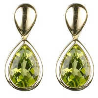 Ewa 9Ct Gold Pear Drop Earrings Green