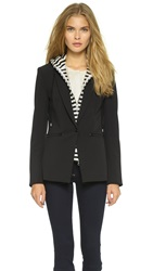 Veronica Beard Scuba Jacket With Stripe Sweater Dickey Black