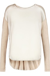 By Malene Birger Cutalio Satin Paneled Modal And Silk Blend Jersey Top Metallic