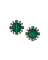 Stephen Dweck Carved Malachite Flower And Mixed Gemstone Button Earrings