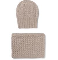 William Lockie Cable Knit Cashmere Hat And Scarf Set Brown