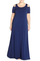 Mynt Plus Size Women's 1792 Cold Shoulder Maxi Dress Cobalt Blue