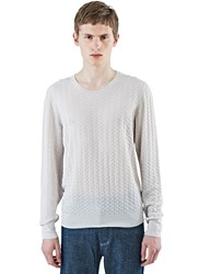 Lanvin Embossed Stitch Crew Neck Sweater Beige