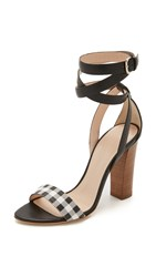 Club Monaco Valencina Ankle Wrap Sandals Black White Gingham