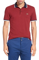 Lacoste 'Fancy' Tipped Stretch Pique Polo Pinot Navy