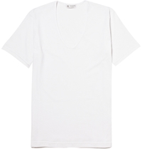 Sunspel V Neck Cotton T Shirt White