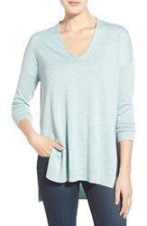 Trouve Women's Trouve V Neck Tunic Sweater Blue Raindrop Heather
