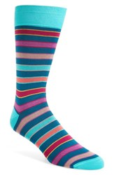 Bugatchi Men's Stripe Socks Teal