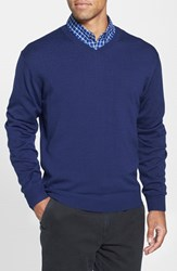 Men's Big And Tall Cutter And Buck 'Douglas' V Neck Sweater Liberty Navy