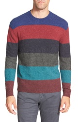 French Connection Stripe Crewneck Sweater Blue Depths Rhododendron