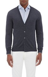 Isaia Men's Wool Button Front Cardigan Dark Grey