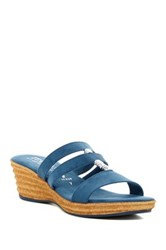 Italian Shoemakers Strappy Wedge Sandal Blue