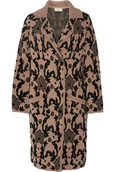 Temperley London Josefa Stretch Wool Jacquard Knit Coat Nude