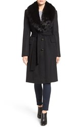 Calvin Klein Women's Faux Fur Collar Wool Blend Coat
