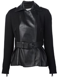 Carolina Herrera Belted Leather Jacket Black