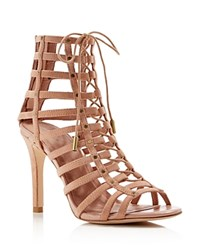 Joie Rhoda Caged Lace Up High Heel Sandals Clay