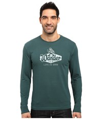Life Is Good Wander Jake Crusher Long Sleeve Balsam Green Men's Long Sleeve Pullover Gray
