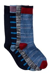 Lucky Brand Dash Stripes And Marl Crew Socks Pack Of 4 Blue