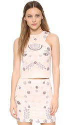 J.O.A. Embroidered Crop Top Blush