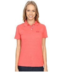 Jack Wolfskin Pique Function 65 Polo Grapefruit Women's Clothing Multi