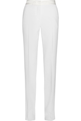Thierry Mugler Satin Trimmed Crepe Wide Leg Pants